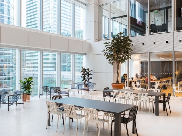 Breakout area at WeWork 30 Churchill Place, Canary Wharf