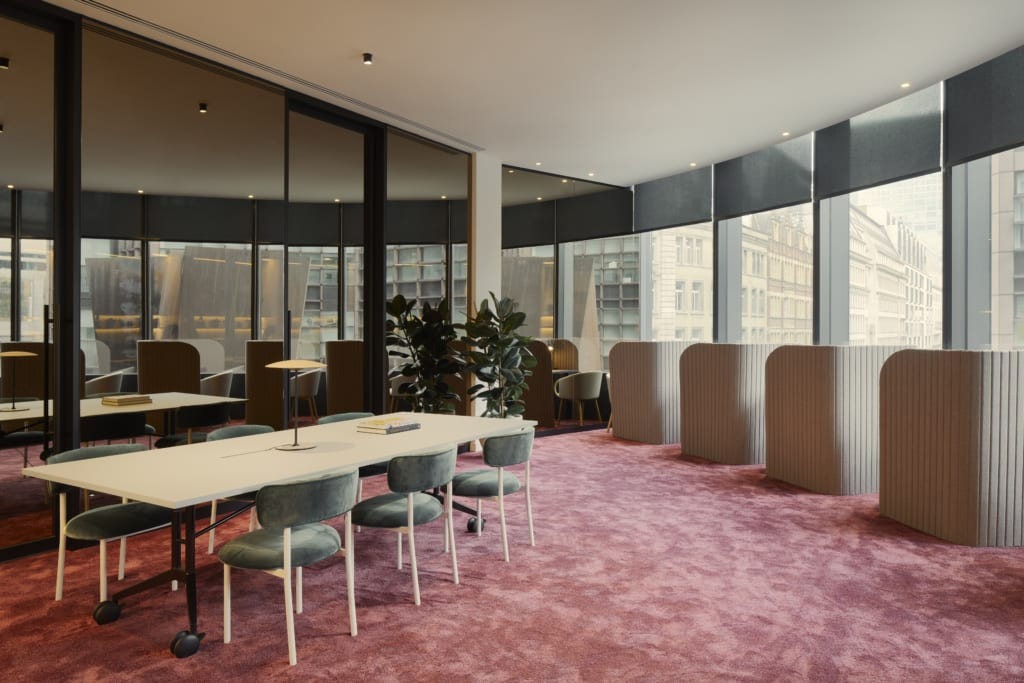 Breakout area at Storey flexible fully fitted office space at 100 Liverpool Street in Broadgate