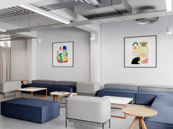 breakout area at Great Portland Street's 33 Alfred Place